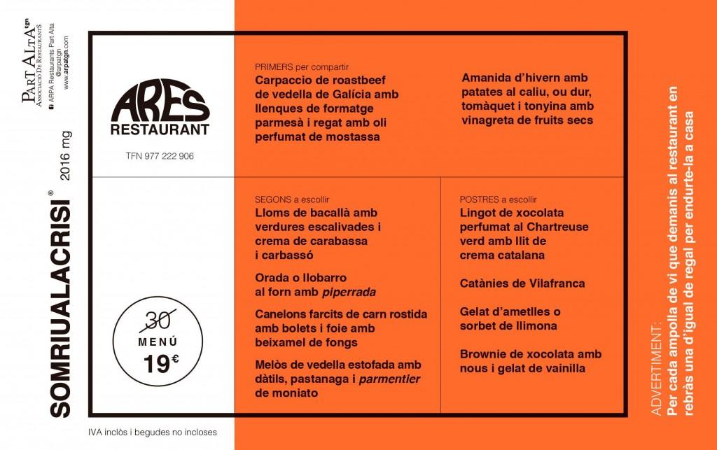 Menú degustació Ares (19€)
