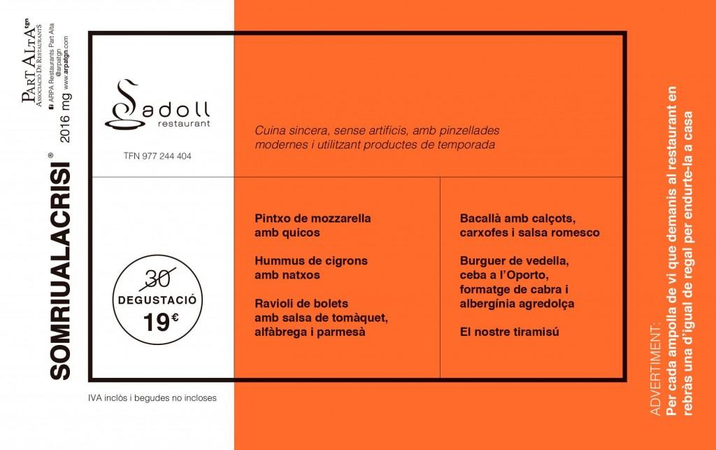 Menú degustació Sadoll (19€)